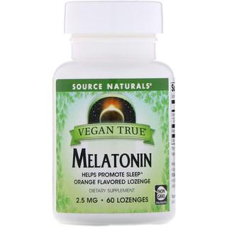 Source Naturals, Vegan True, Melatonin, Orange, 2.5 mg, 60 Lozenges