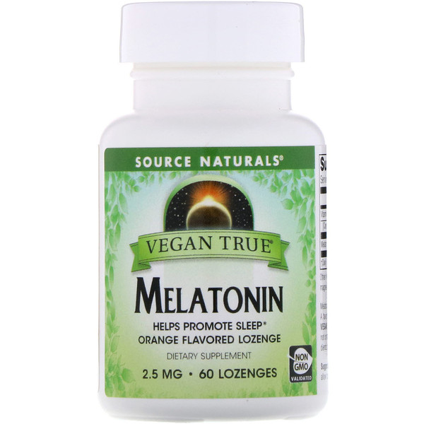 Source Naturals, Vegano de verdad, melatonina, naranja, 2.5 mg, 60 tabletas
