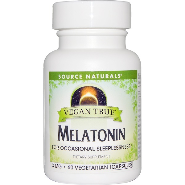 Source Naturals, Vegan True, Melatonin, 3 mg, 60 Veggie Caps (Discontinued Item)