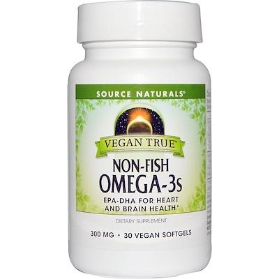 Source Naturals Истинно Веган, Омега-3s, не рыбного происхождения 300 мг, 30 веганских капсул  - купить со скидкой