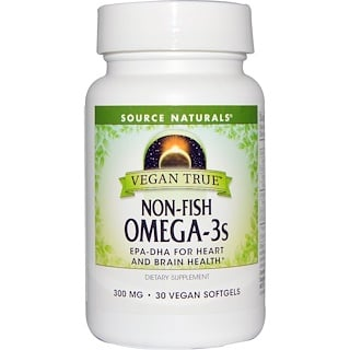 Source Naturals, Vegan True, Non-Fish Omega-3s, 300 mg, 30 Vegan Softgels