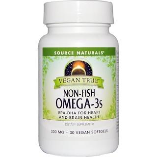 Source Naturals, ビーガントゥルー、 魚不使用 オメガ-3、 300 mg、 30 ビーガンソフトジェル