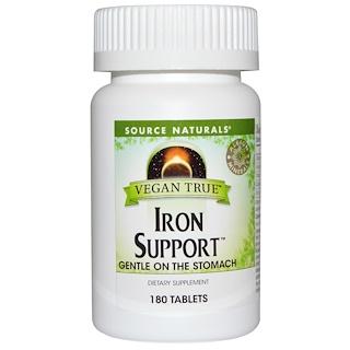 Source Naturals, Vegan True, Iron Support, 180 Tablets