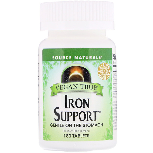 Source Naturals, Vegan True, Iron Support, 180 טבליות