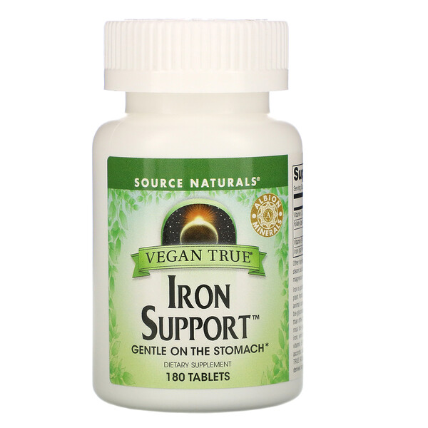 Vegan True, תוסף ברזל Iron Support‏, 180 טבליות