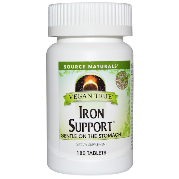 Source Naturals, Vegan True, Iron Support, 180 Tablets