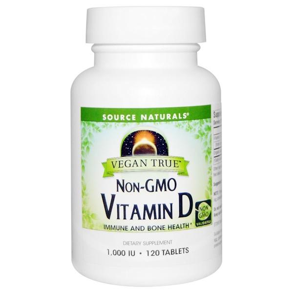 Source Naturals, Vegan True, Vitamin D, 1,000 IU, 120 Tablets (Discontinued Item)