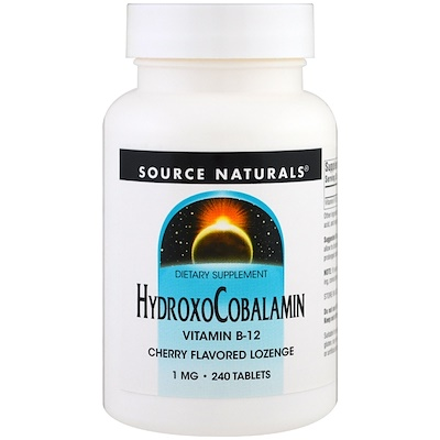Source Naturals ГидроксоКобаламин, витамин B-12, вишневый вкус, 1 мг , 240 таблеток