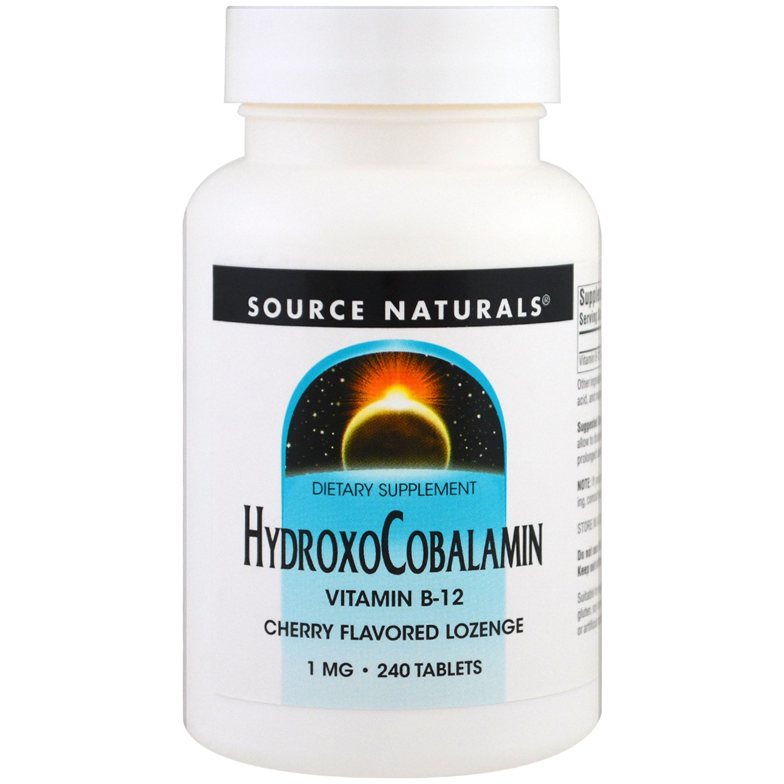 Source Naturals, ГидроксоКобаламин, витамин B-12, вишневый вкус, 1 мг , 240 таблеток