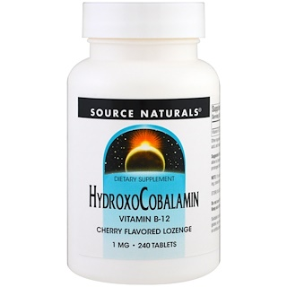 Source Naturals, HydroxoCobalamin, Vitamin B-12, Cherry Flavored Lozenge, 1 mg , 240 Tablets