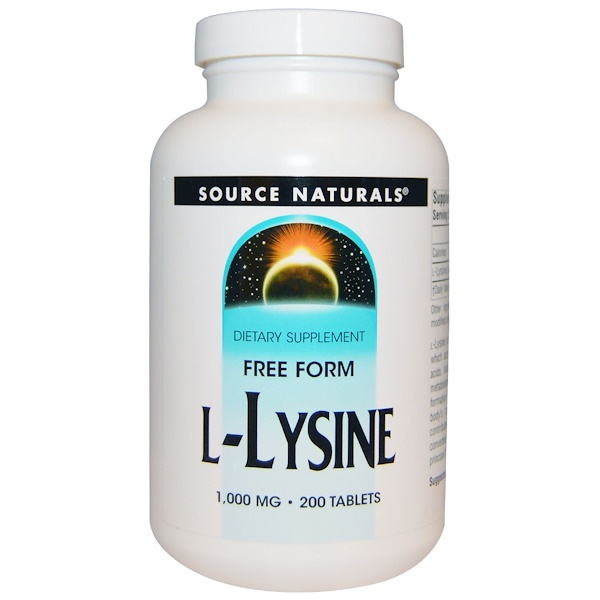 :Source Naturals, L-Lysine, 1,000 mg, 200 Tablets