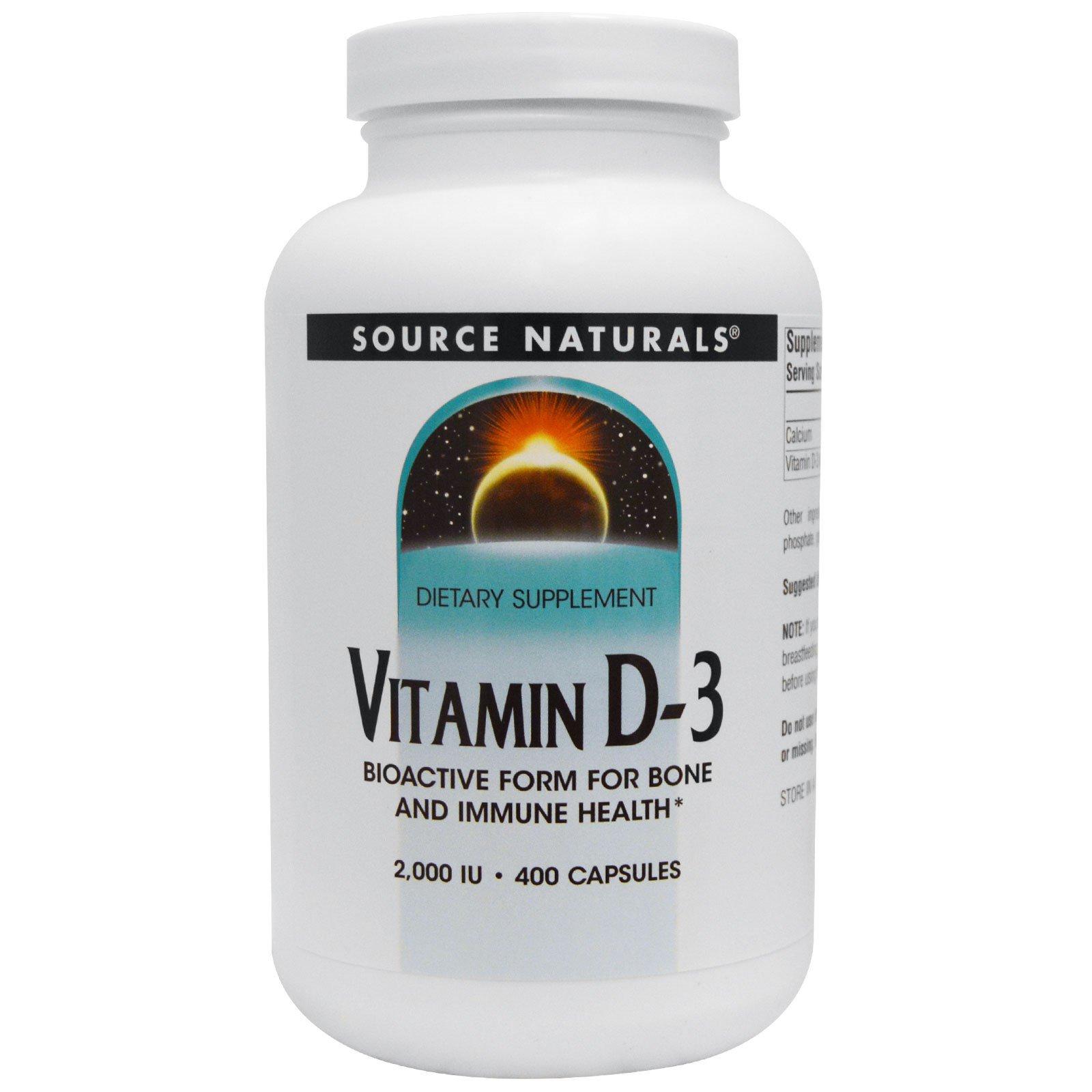 Source Naturals, Витамин D3, 2000 МЕ, 400 капсул