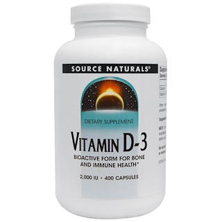 Source Naturals, Vitamin D-3, 2.000 IE, 400 Kapseln