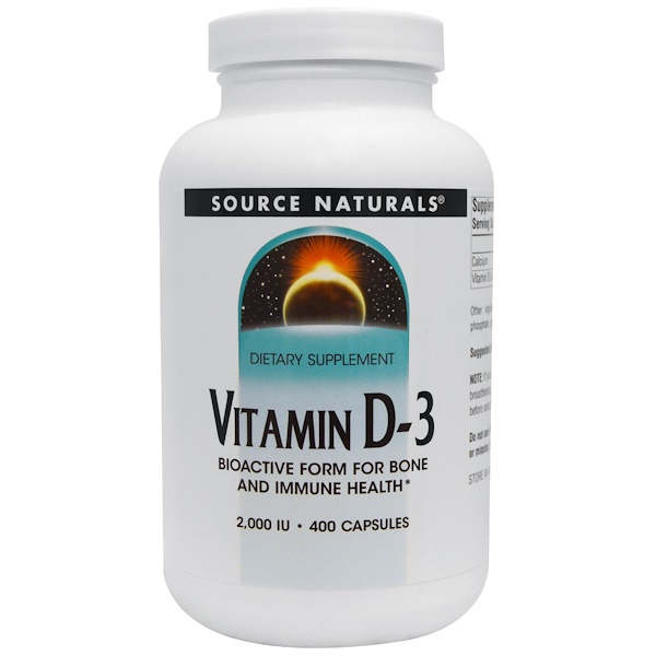 Source Naturals, Vitamin D-3, 2,000 IU, 400 Capsules (Discontinued Item)