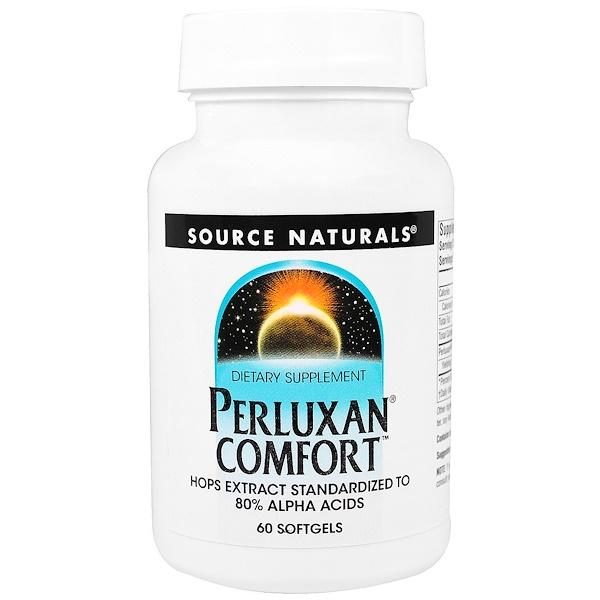 """Source Naturals, """"Perluxan комфорт"""", пищевая добавка, 60 мягких желатиновых капсул с жидкостью (Discontinued Item)"""