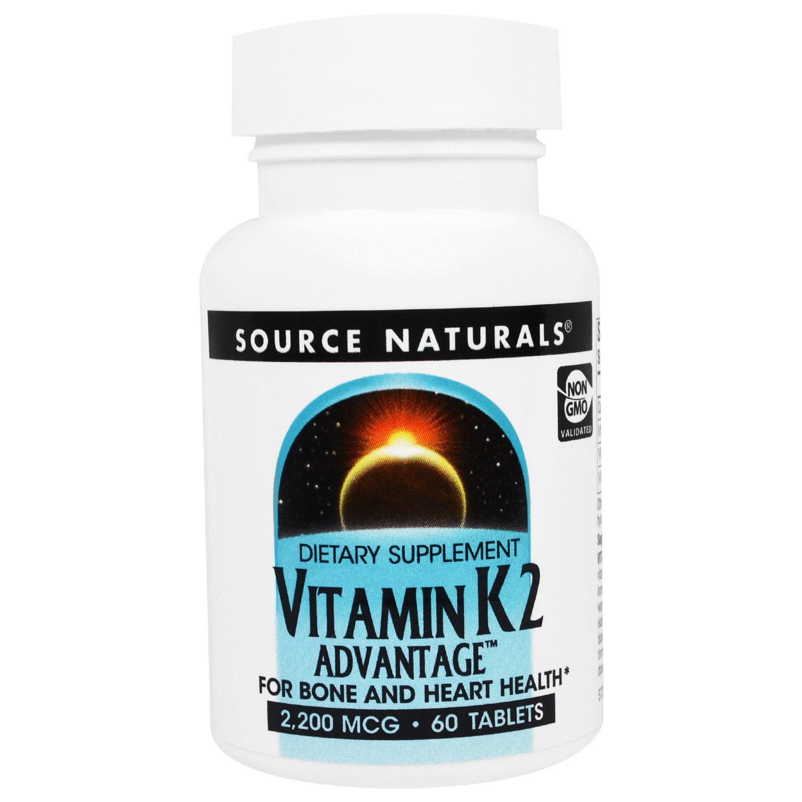 Source Naturals, Преимущества Витамина K2, 2,200 мкг, 60 таблеток