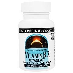 Source Naturals, ビタミンK2アドバンテージ、2,200mcg、60錠
