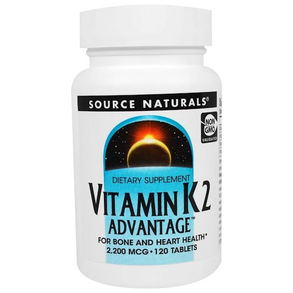 Source Naturals, Vitamin K2 Advantage, 2,200 mcg, 120 Tablets (Discontinued Item)
