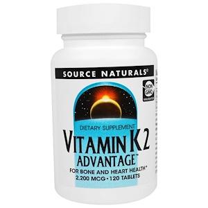 Сорс Начэралс, Vitamin K2 Advantage, 2,200 mcg, 120 Tablets отзывы