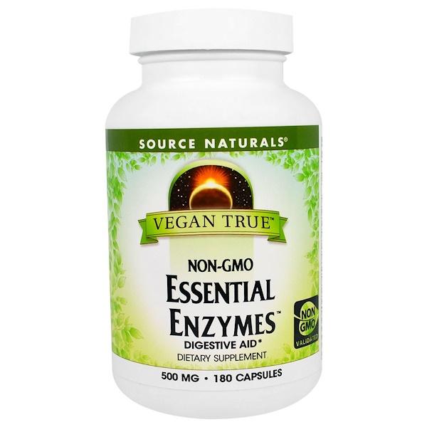 Source Naturals, Vegan True, Non-GMO Essential Enzymes, 500 mg, 180 Capsules (Discontinued Item)