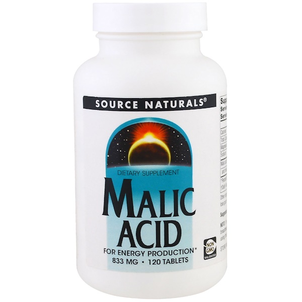 Source Naturals, Acide malique, 833 mg , 120 comprimés