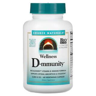 Source Naturals, Wellness D-mmunity, Bio-Aligned Vitamin D Immune Formula, 75 mcg (3,000 IU), 60 Vegetarian Capsules