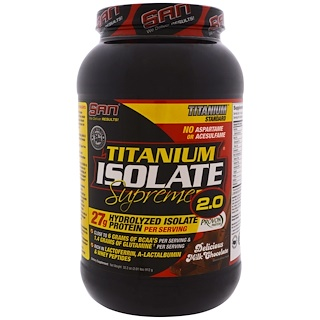 SAN Nutrition, Titanium Isolate Supreme 2.0, Delicious Milk Chocolate, 2.01 lbs (912 g)