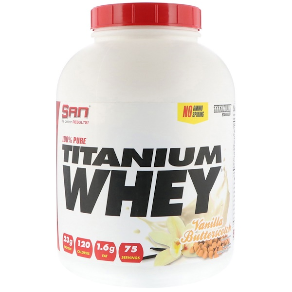 SAN Nutrition, 100% Pure Titanium Whey, Vanilla Butterscotch, 5 lb (2268 g) (Discontinued Item)