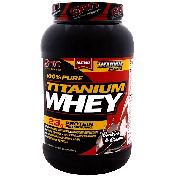 SAN Nutrition, 100% Pure Titanium Whey, Cookies & Cream, 2.06 lbs (924 g) (Discontinued Item)
