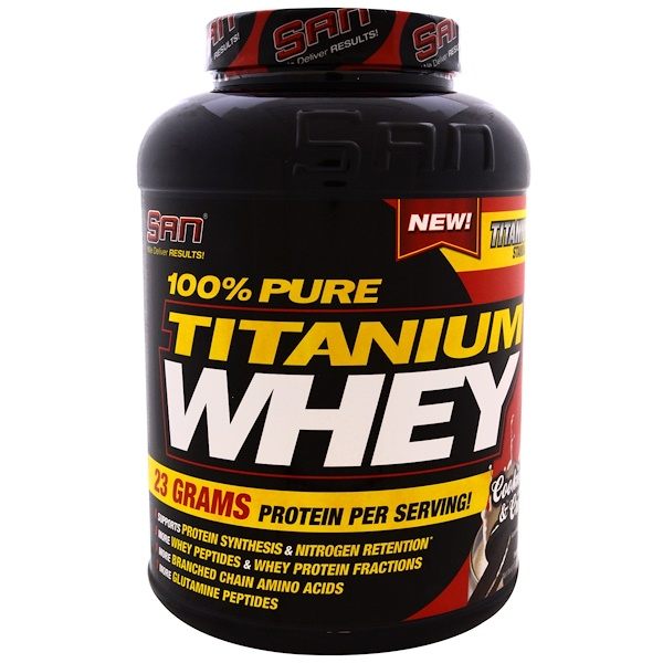 SAN Nutrition, 100% Pure Titanium Whey, Cookies & Cream, 5.06 lbs (2310 g) (Discontinued Item)