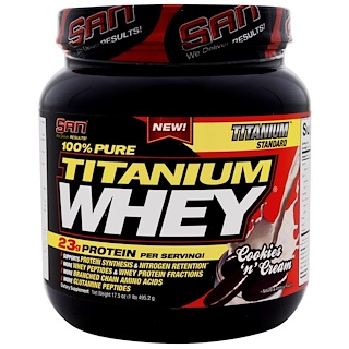 SAN Nutrition, 100% Pure Titanium Whey, Cookies & Cream, 17.5 oz (495.2 g)