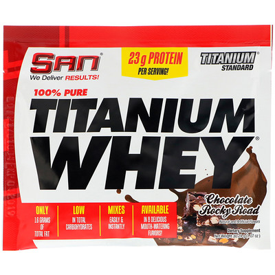 SAN Nutrition 100% Pure Titanium Whey, Chocolate Rocky Road, 1.07 oz (30.24 g)