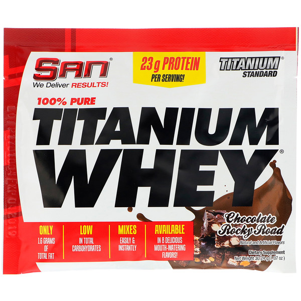 SAN Nutrition, 100% Pure Titanium Whey, Chocolate Rocky Road, 1.07 oz (30.24 g)