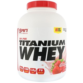 SAN Nutrition, 100%ピュアチタンホエイ、ストロベリー風味、2273g(5 lb)