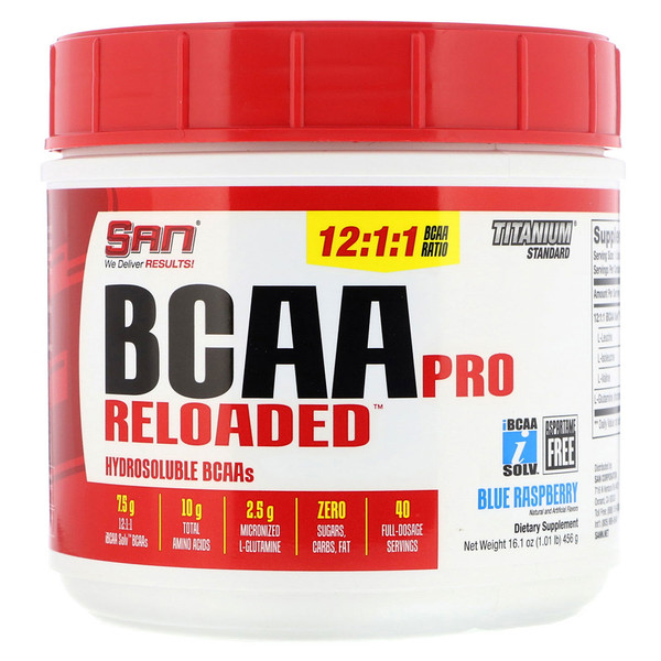 SAN Nutrition, BCAA Pro Reloaded, Blue Raspberry, 16.1 oz (456 g) (Discontinued Item)