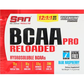 SAN Nutrition, BCAA Pro Reloaded, Hydrosoluble BCAAs, Blue Raspberry, 0.4 oz (11.4 g)