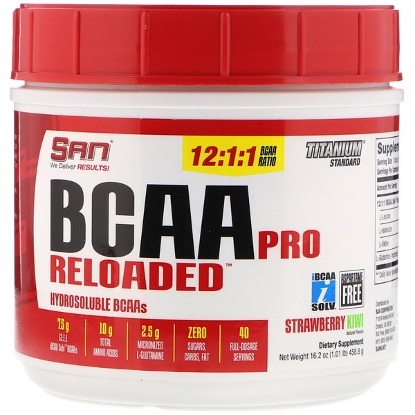 SAN Nutrition, BCAA Pro Reloaded, Strawberry Kiwi, 16.2 oz (458.8 g)