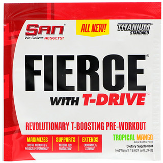 SAN Nutrition, フィアス・ウィズTドライブ(Fierce With T-Drive)、革新的なテスタステロン増強プレワークアウト、トロピカルマンゴー、0.69 oz (19.637 g)
