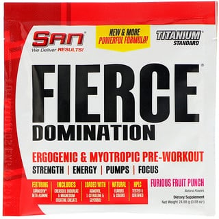 SAN Nutrition, Fierce Domination, Ergogenic & Myotropic Pre-Workout, Furious Fruit Punch, 0.88 oz (24.88 g)