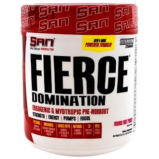 SAN Nutrition, Fierce Доминирование, Повышающая работоспособность и миотропная предтренировочная формула, Взрывная фруктовая смесь, 26,3 унции (746,4 г)
