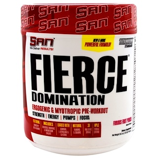 SAN Nutrition, フィアスドミネーション, エネルギー持続&筋肉強化, フュリアス・フルーツパンチ, 26.3 oz (746.4 g)