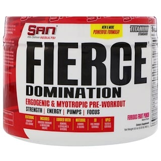 SAN Nutrition, Fierce Domination, Ergogenic & Myotropic Pre-Workout, Furious Fruit Punch, 8.8 oz (248.8 g)
