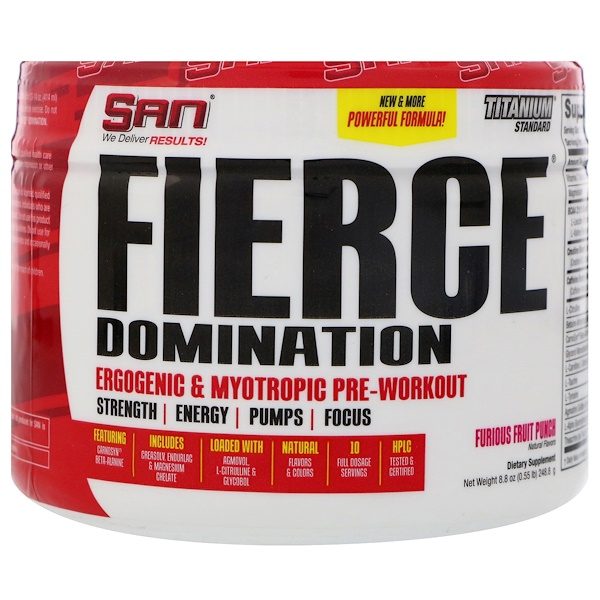 SAN Nutrition, Fierce Domination, Ergogenic & Myotropic Pre-Workout, Furious Fruit Punch, 8.8 oz (248.8 g) (Discontinued Item)