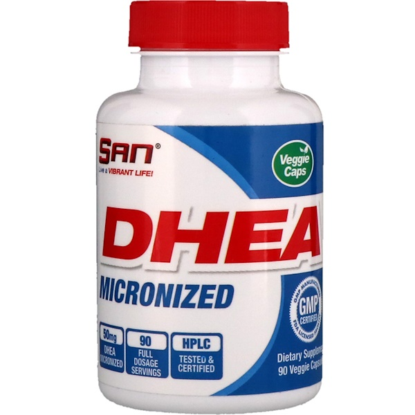 SAN Nutrition, DHEA Micronized, 90 Veggie Capsules (Discontinued Item)