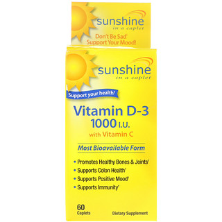Sunshine, Vitamin D-3 with Vitamin C, 1000 IU, 60 Caplets