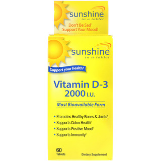 Sunshine, Vitamin D-3, 2000 IU, 60 Tablets