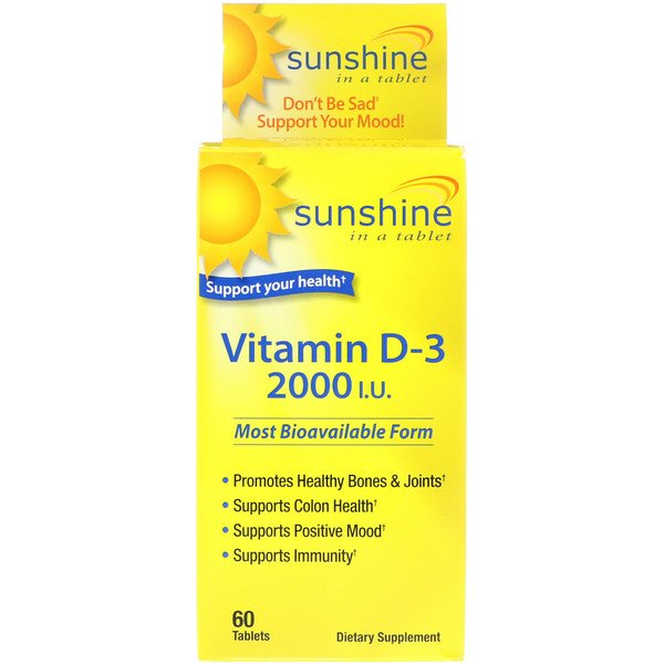 Sunshine, Vitamin D-3, 2000 IU, 60 Tablets (Discontinued Item)