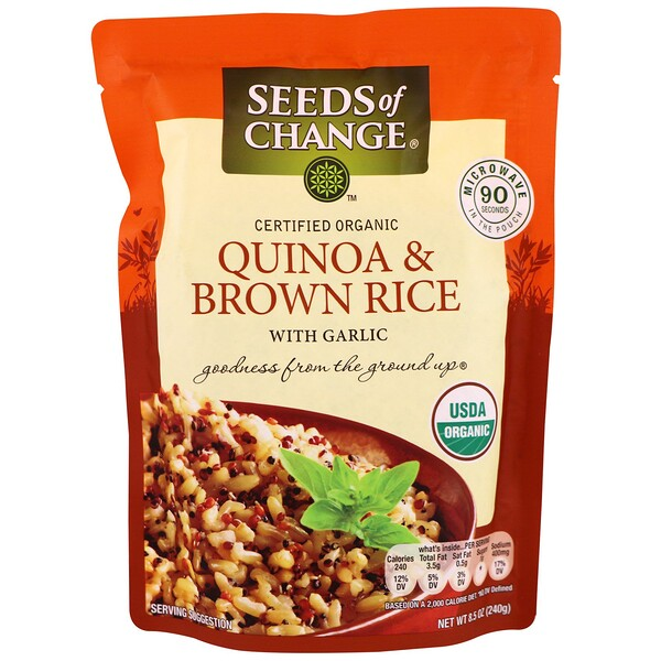 Seeds of Change, Organic, Quinoa & Brown Rice, With Garlic, 8.5 oz (240 g) (Discontinued Item)