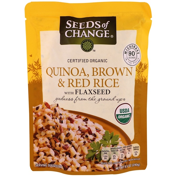 Seeds of Change, Organic, Quinoa, Brown & Red Rice with Flaxseed, 8.5 oz (240 g) (Discontinued Item)