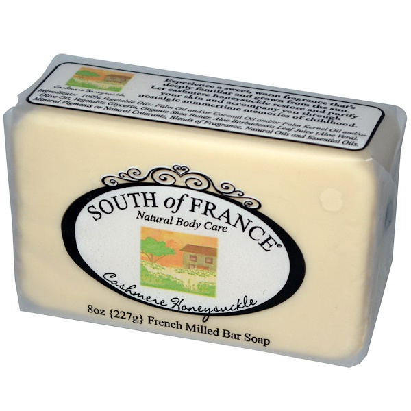 South of France, French Milled Bar Soap, Cashmere Honeysuckle, 8 oz (227 g) (Discontinued Item)